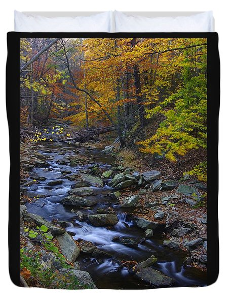 Tracking Color - Big Hunting Creek Catoctin Mountain Park Maryland Autumn Afternoon Duvet Cover by Michael Mazaika