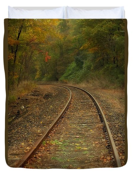 Tracking Thru The Woods Duvet Cover by Karol Livote
