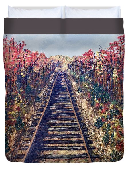Tracks Remembered Duvet Cover by Cynthia Morgan
