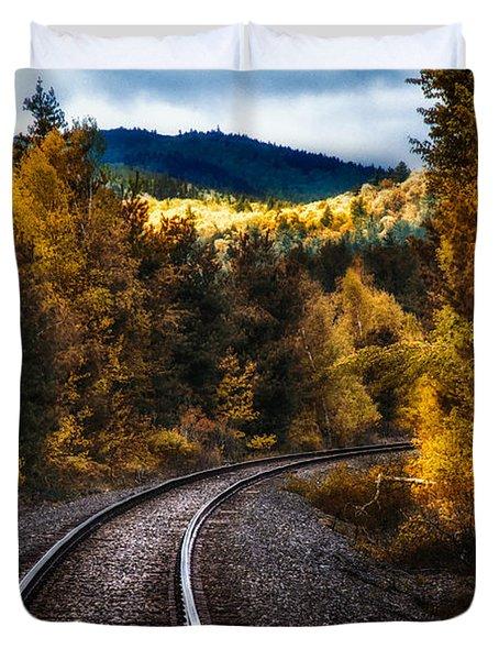 Tracks Through The Mountains  Duvet Cover by Bob Orsillo