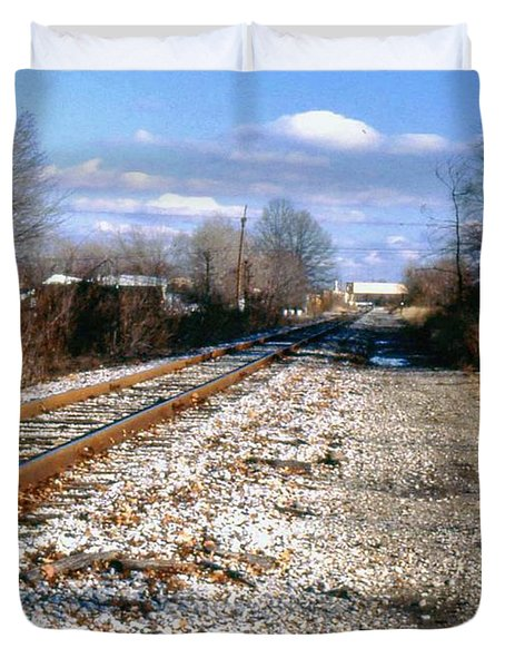 Duvet Cover featuring the photograph Tracks To Nowhere by Gary Wonning