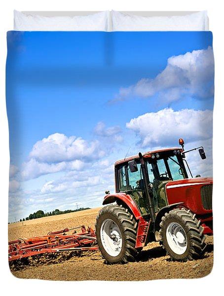 Tractor In Plowed Farm Field Duvet Cover by Elena Elisseeva