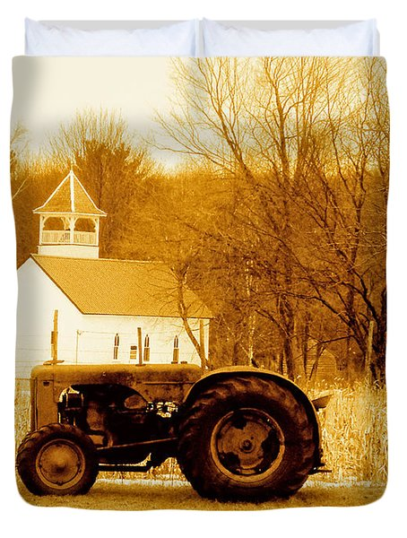 Tractor In The Field Duvet Cover
