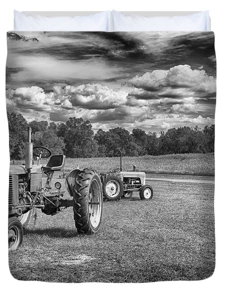 Duvet Cover featuring the photograph Tractors by Howard Salmon