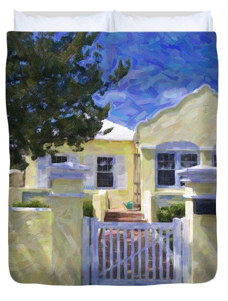 Duvet Cover featuring the photograph Traditional Bermuda Home by Verena Matthew