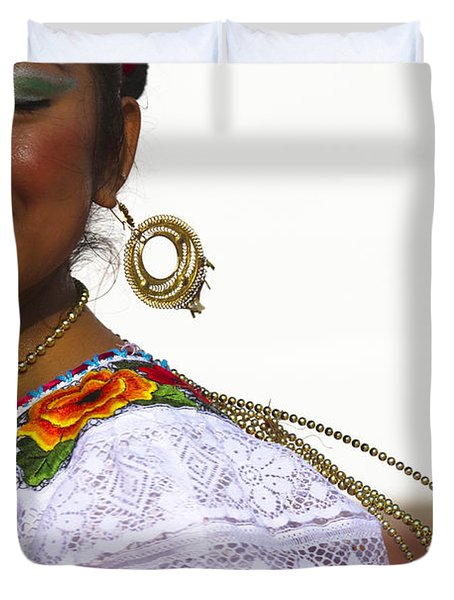 Traditional Ethnic Dancers In Chiapas Mexico Duvet Cover by David Smith