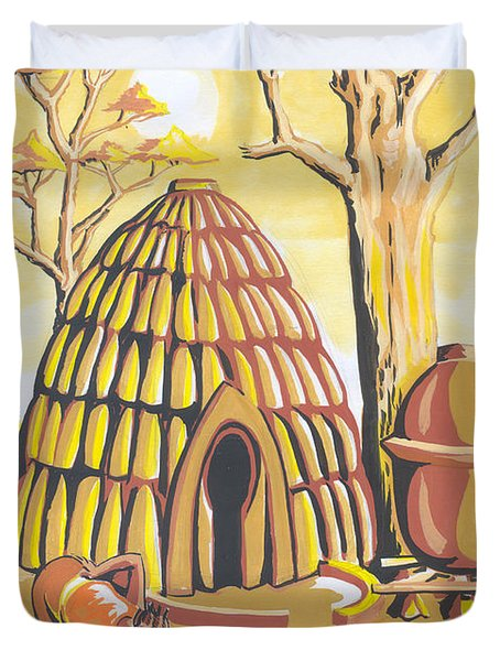 Duvet Cover featuring the painting Traditional House Massa Northern Cameroon by Emmanuel Baliyanga