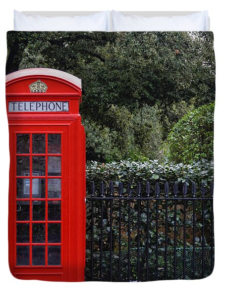Traditional Red Telephone Box In London Duvet Cover