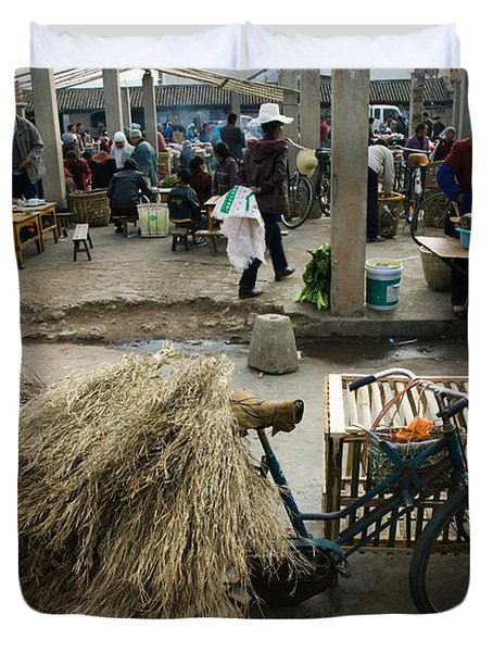 Traditional Town Market With Grass Duvet Cover