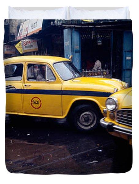 Traffic In A Street, Calcutta, West Duvet Cover