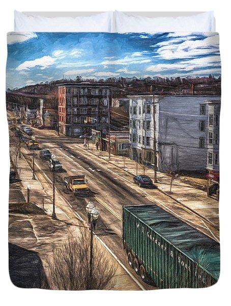 Traffic On Lincoln Street Duvet Cover by Bob Orsillo