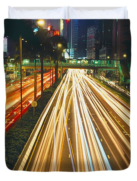 Traffic On The Road, Hong Kong, China Duvet Cover by Panoramic Images