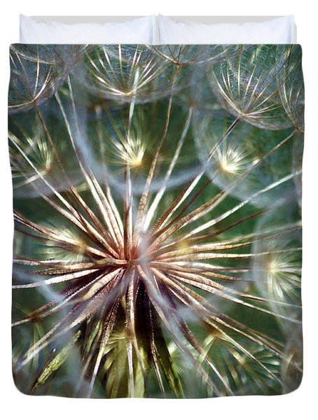 Duvet Cover featuring the photograph Tragopogon Dubius Yellow Salsify Flower Fruit Seed by Karon Melillo DeVega