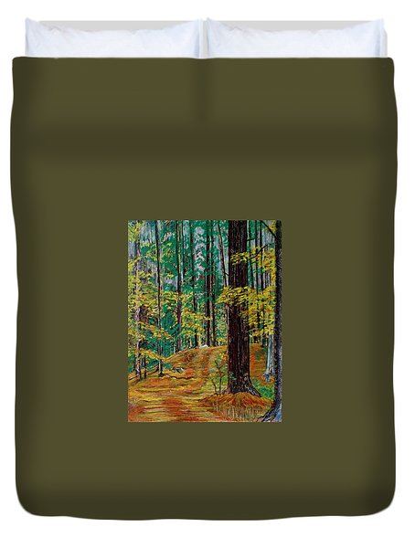 Trail At Wason Pond Duvet Cover by Sean Connolly