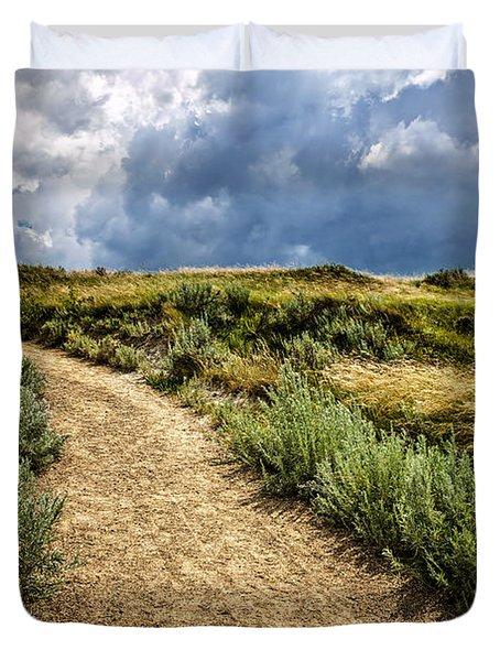 Trail In Badlands In Alberta Canada Duvet Cover by Elena Elisseeva