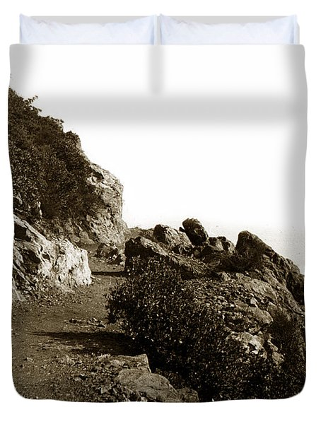 Duvet Cover featuring the photograph Trail On Mt. Tamalpais Marin Co California Circa 1902  by California Views Mr Pat Hathaway Archives