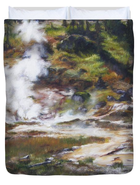 Trail To The Artists Paint Pots - Yellowstone Duvet Cover
