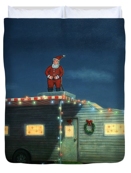 Duvet Cover featuring the painting Trailer House Christmas by James W Johnson