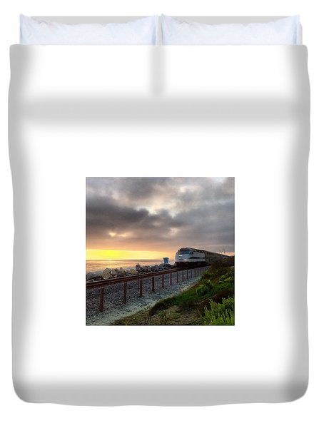 Train And Sunset In San Clemente Duvet Cover
