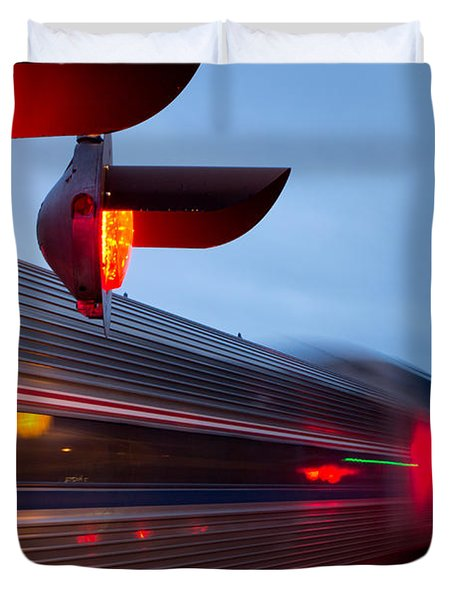 Train Crossing Road Duvet Cover