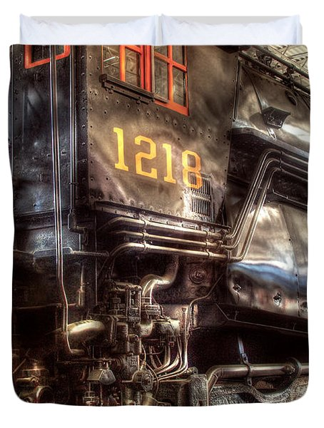 Train - Engine - 1218 - Norfolk Western - Class A - 1218 Duvet Cover by Mike Savad