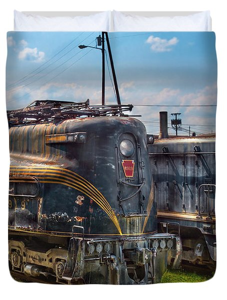 Train - Engine - 4919 - Pennsylvania Railroad Electric Locomotive  4919  Duvet Cover by Mike Savad