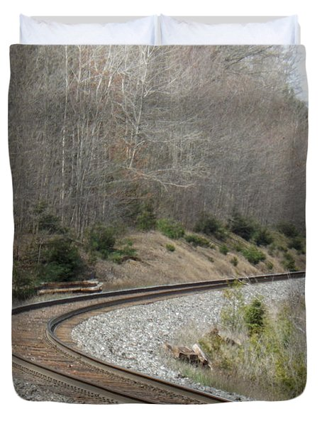 Train It Coming Around The Bend Duvet Cover by Brenda Brown