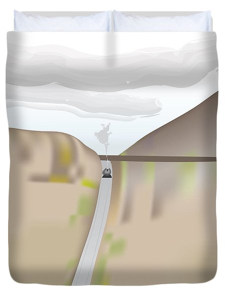 Train Landscape Duvet Cover