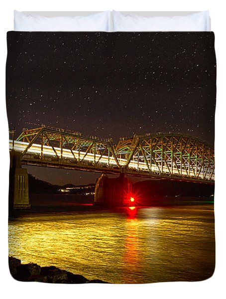 Train Lights In The Night Duvet Cover by Miroslava Jurcik