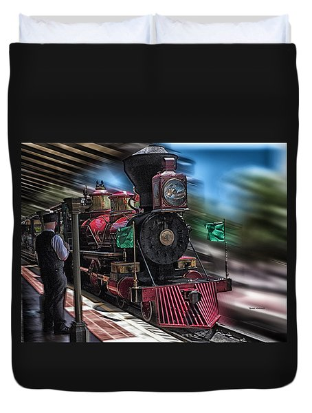 Train Ride Magic Kingdom Duvet Cover by Thomas Woolworth