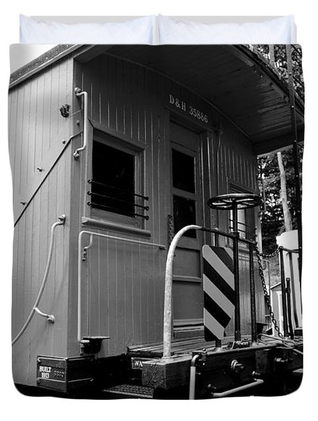 Train - The Caboose - Black And White Duvet Cover by Paul Ward