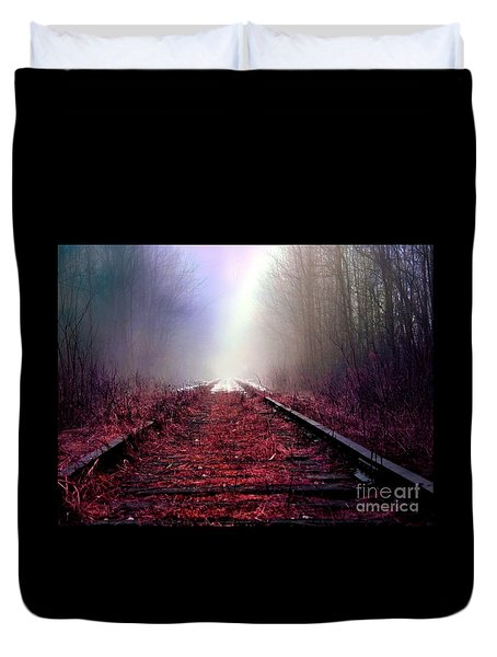 Duvet Cover featuring the photograph Train Track by France Laliberte