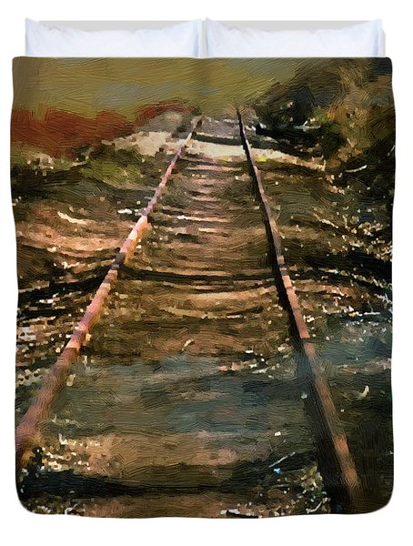 Train Track To Hell Duvet Cover by RC deWinter