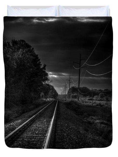 Train Tracks To Town Duvet Cover