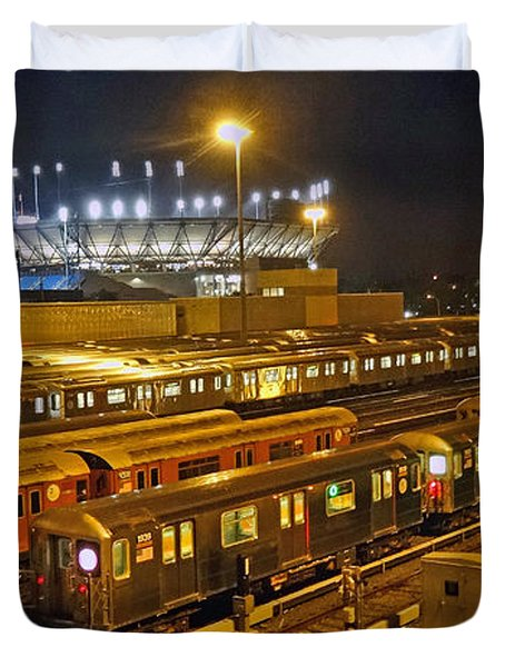 Trains Nyc Duvet Cover by Jeffrey Friedkin