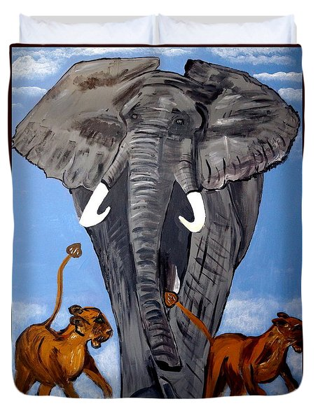 Duvet Cover featuring the painting Trampling Elephant by Nora Shepley