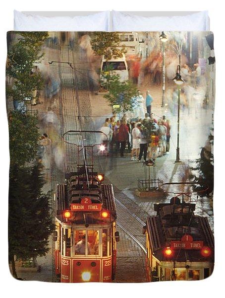 Trams In Beyoglu Duvet Cover
