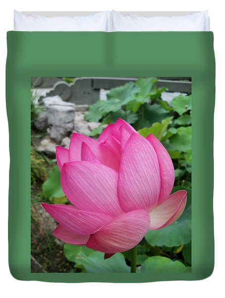 Tranquil Lotus  Duvet Cover by Lingfai Leung