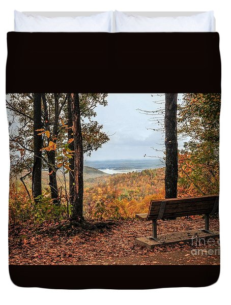 Duvet Cover featuring the photograph Tranquility Bench In Great Smoky Mountains by Debbie Green