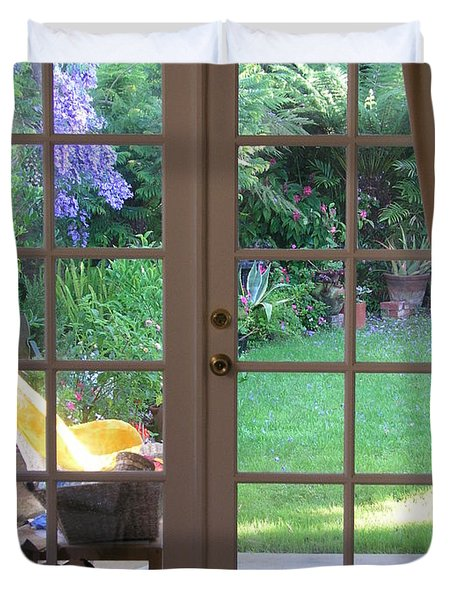 Tranquility Through French Doors Duvet Cover by Bev Conover