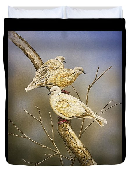 Tranquillity - Ring-necked Doves Duvet Cover by Frances McMahon
