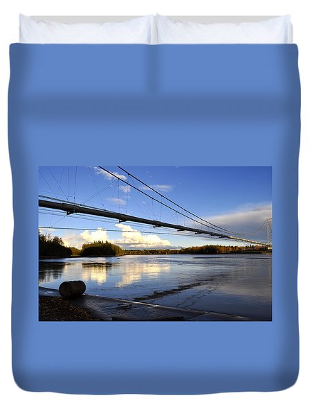 Duvet Cover featuring the photograph Transalaska Pipeline Bridge by Cathy Mahnke