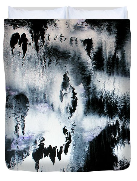 Duvet Cover featuring the painting Dancing In The Rain Abstract Contemporary Painting by Michelle Joseph-Long