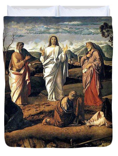 Transfiguration Of Christ 1487 Giovanni Bellini Duvet Cover by Karon Melillo DeVega