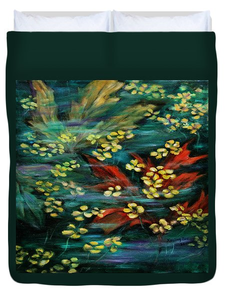 Duvet Cover featuring the painting Transforming... by Xueling Zou