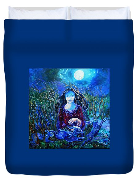 Eostra Holds The Moon Duvet Cover by Trudi Doyle