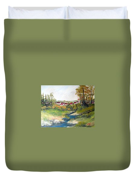 Transylvanian Village View Duvet Cover