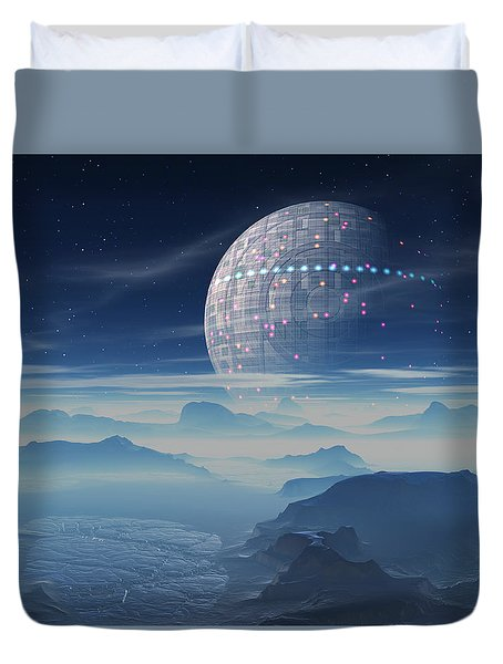 Tranus Alien Planet With Satellite Duvet Cover