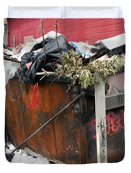 Duvet Cover featuring the photograph Trash Dumpster In Slums by Gunter Nezhoda