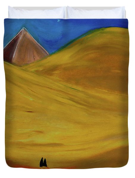 Duvet Cover featuring the drawing Travelers Desert by First Star Art